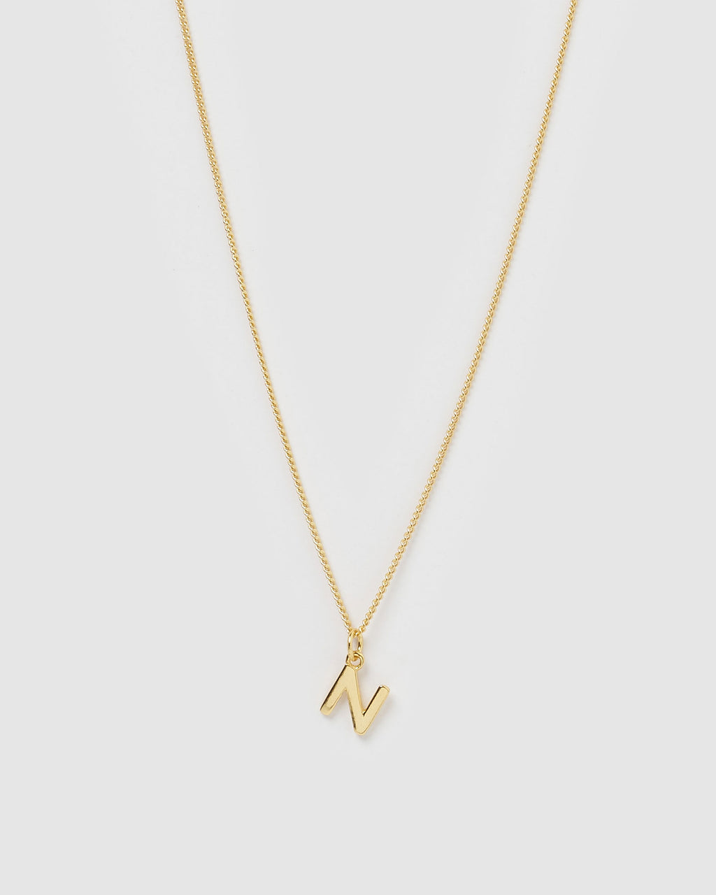 Izoa Alphabet Letter N Necklace Gold