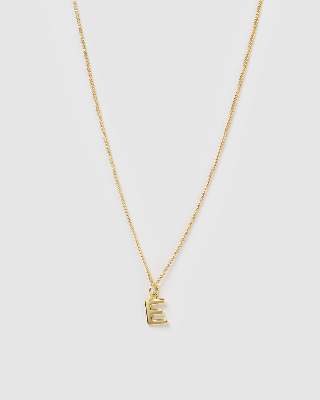 Izoa Alphabet Letter E Necklace Gold