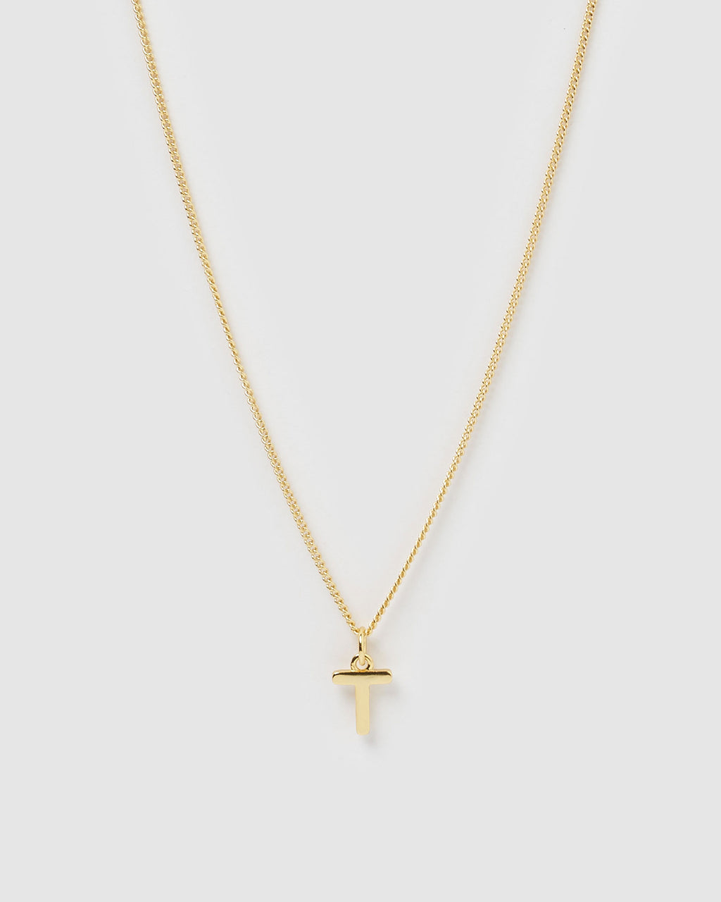 Izoa Alphabet Letter T Necklace Gold