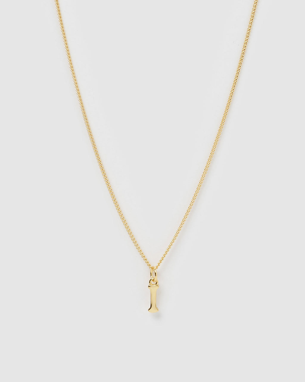 Izoa Alphabet Letter I Necklace Gold