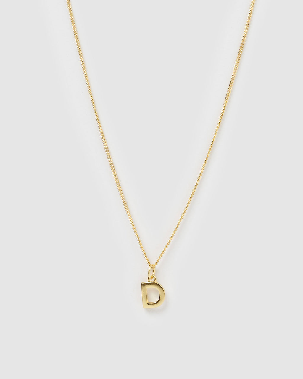Izoa Alphabet Letter D Necklace Gold