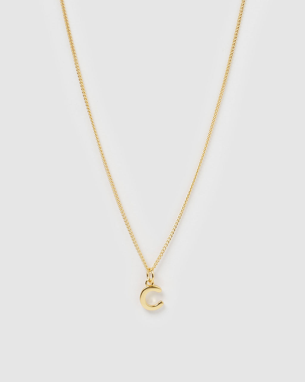 Izoa Alphabet Letter C Necklace Gold
