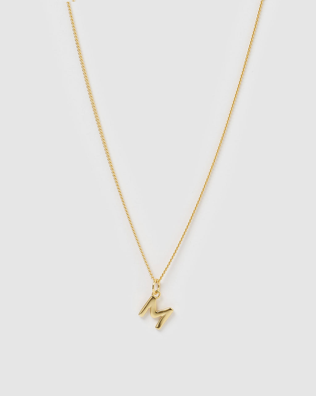 Izoa Alphabet Letter M Necklace Gold