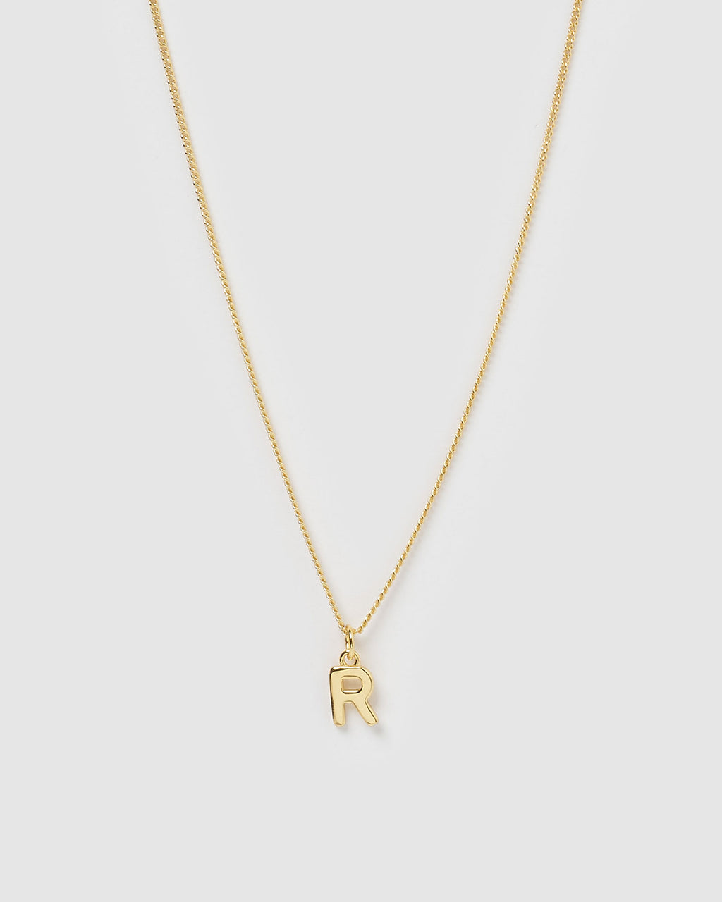 Izoa Alphabet Letter R Necklace Gold