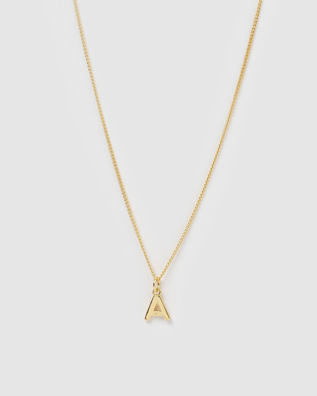 Izoa Alphabet Letter A Necklace Gold