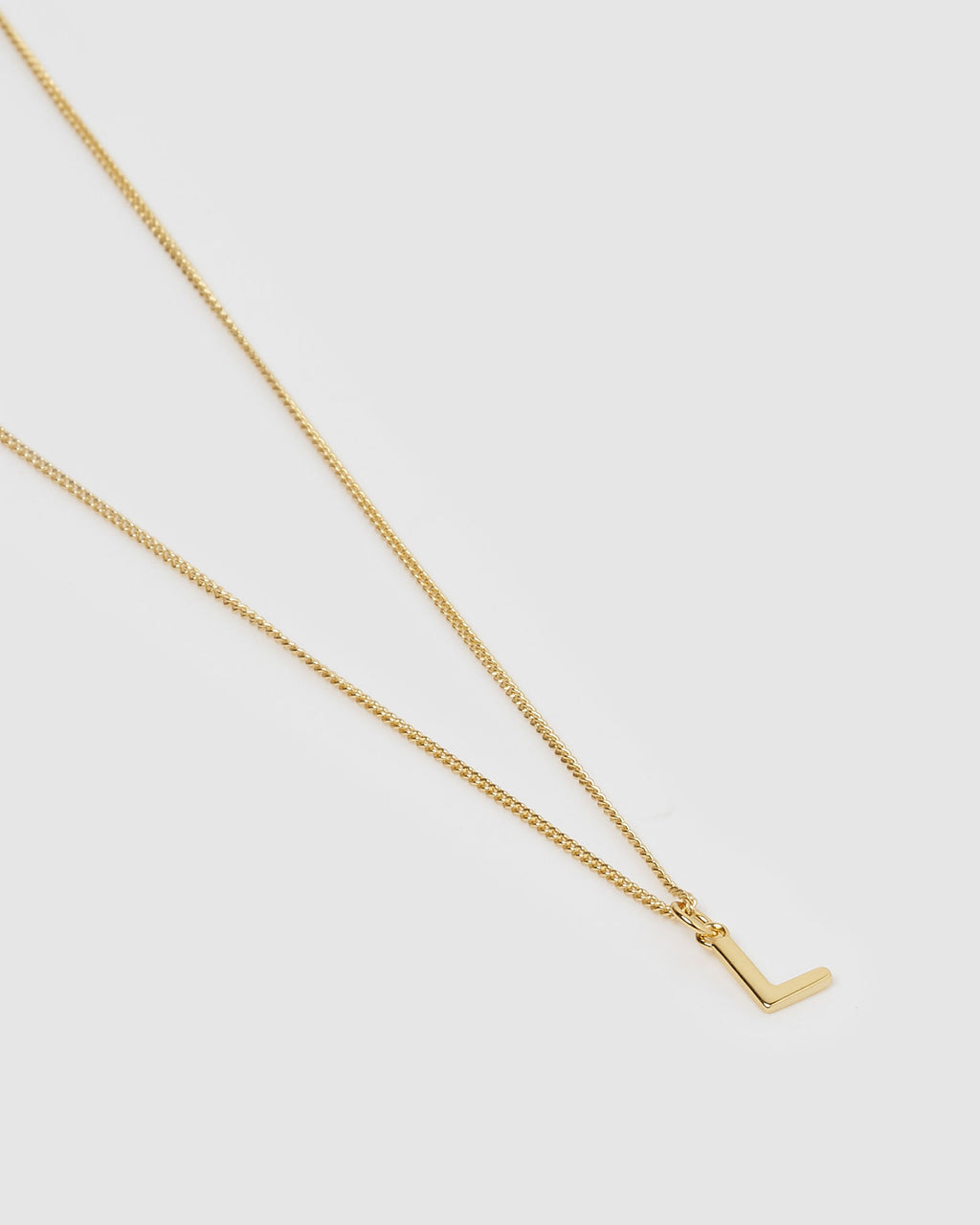 Izoa Alphabet Letter L Necklace Gold
