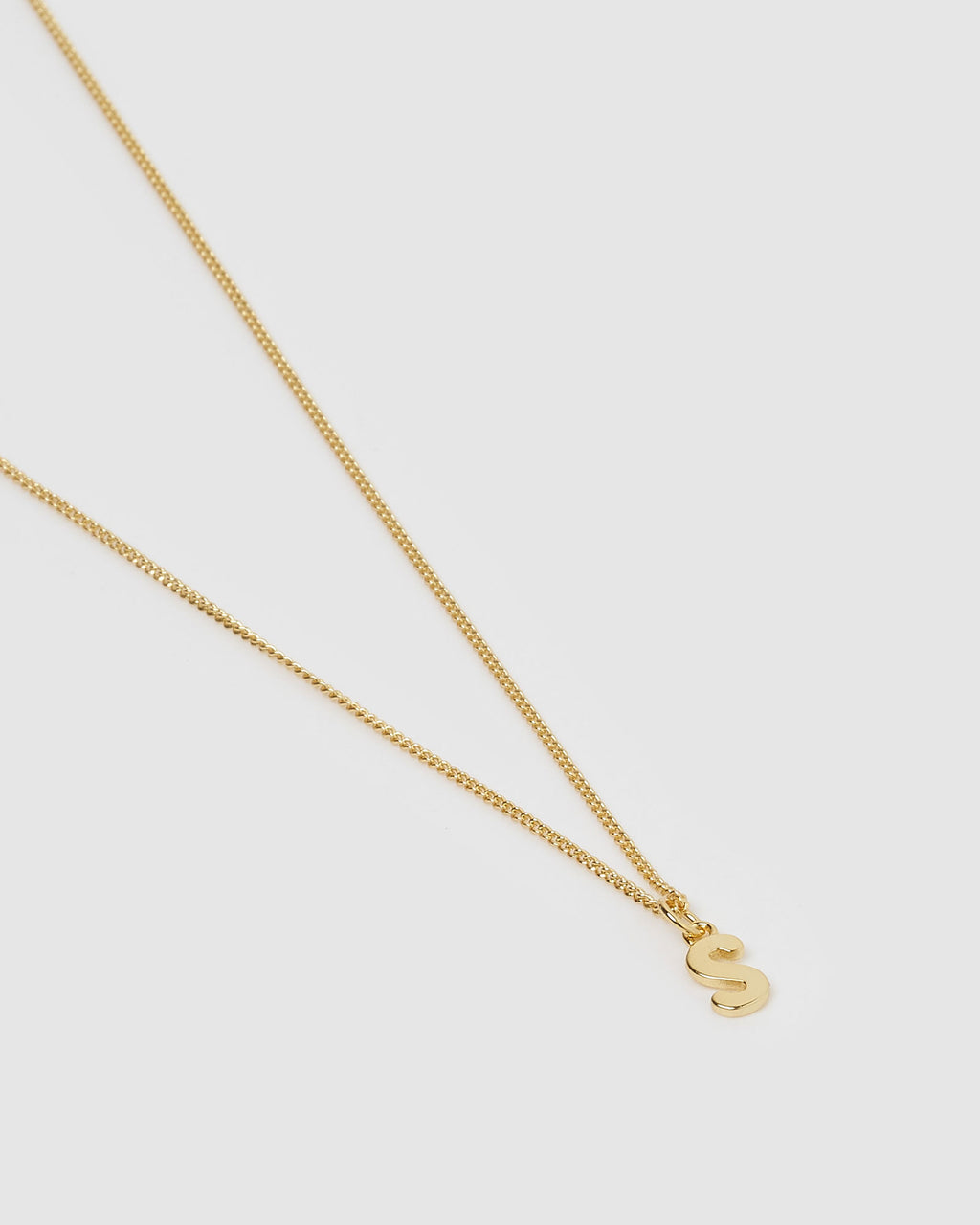Izoa Alphabet Letter S Necklace Gold