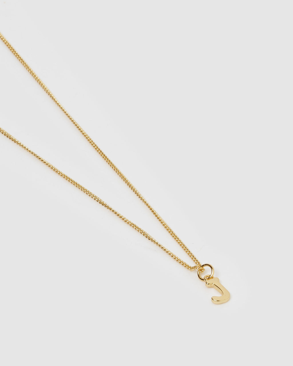 Izoa Alphabet Letter J Necklace Gold
