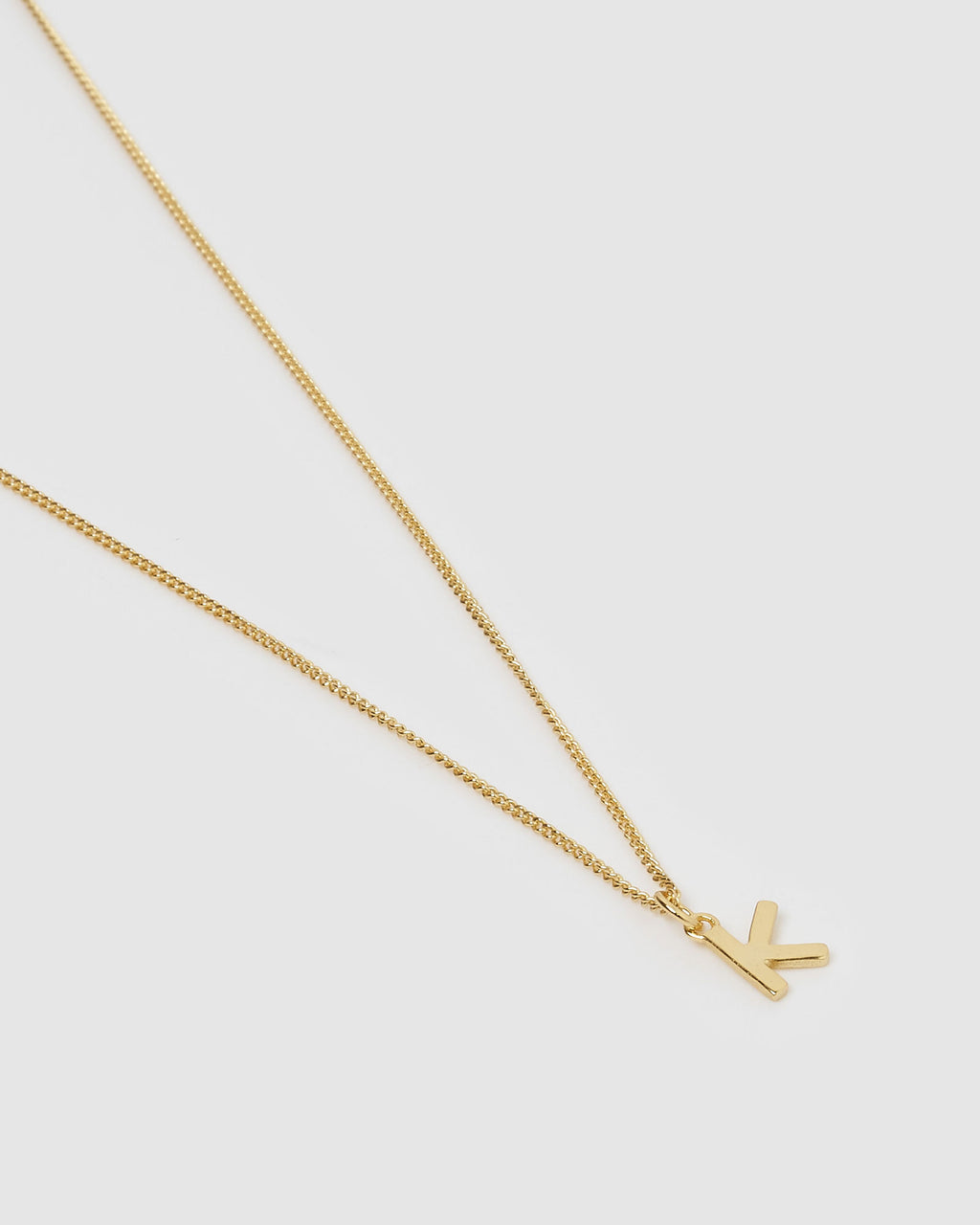 Izoa Alphabet Letter K Necklace Gold