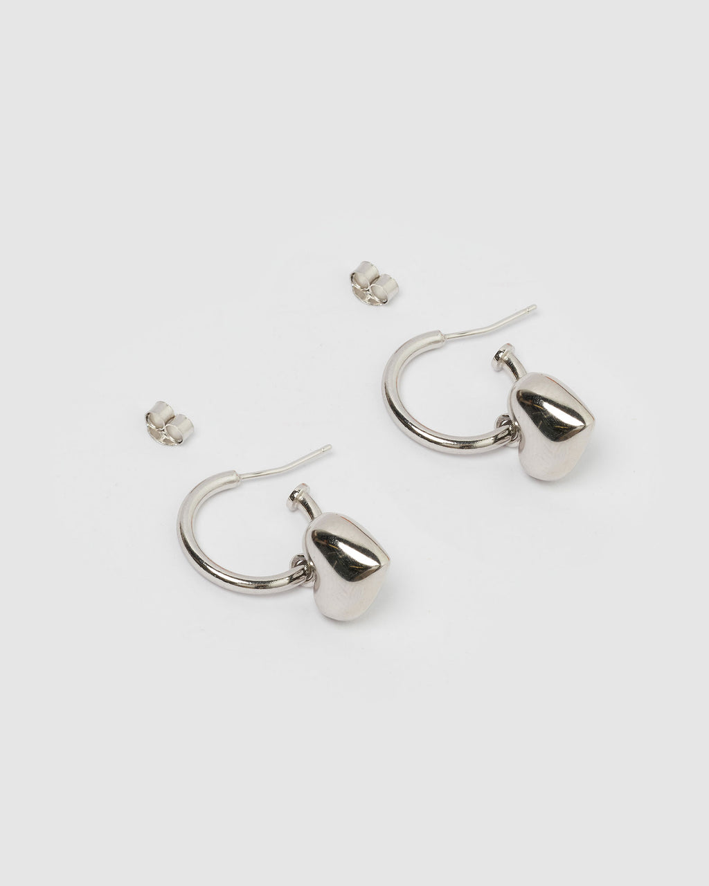 Izoa Feel The Love Hoop Earrings Silver