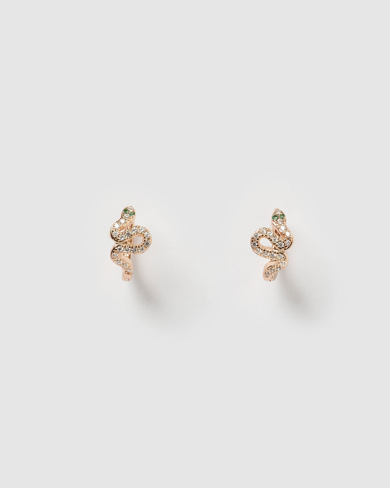 Izoa Cobra Huggie Earrings Rose Gold
