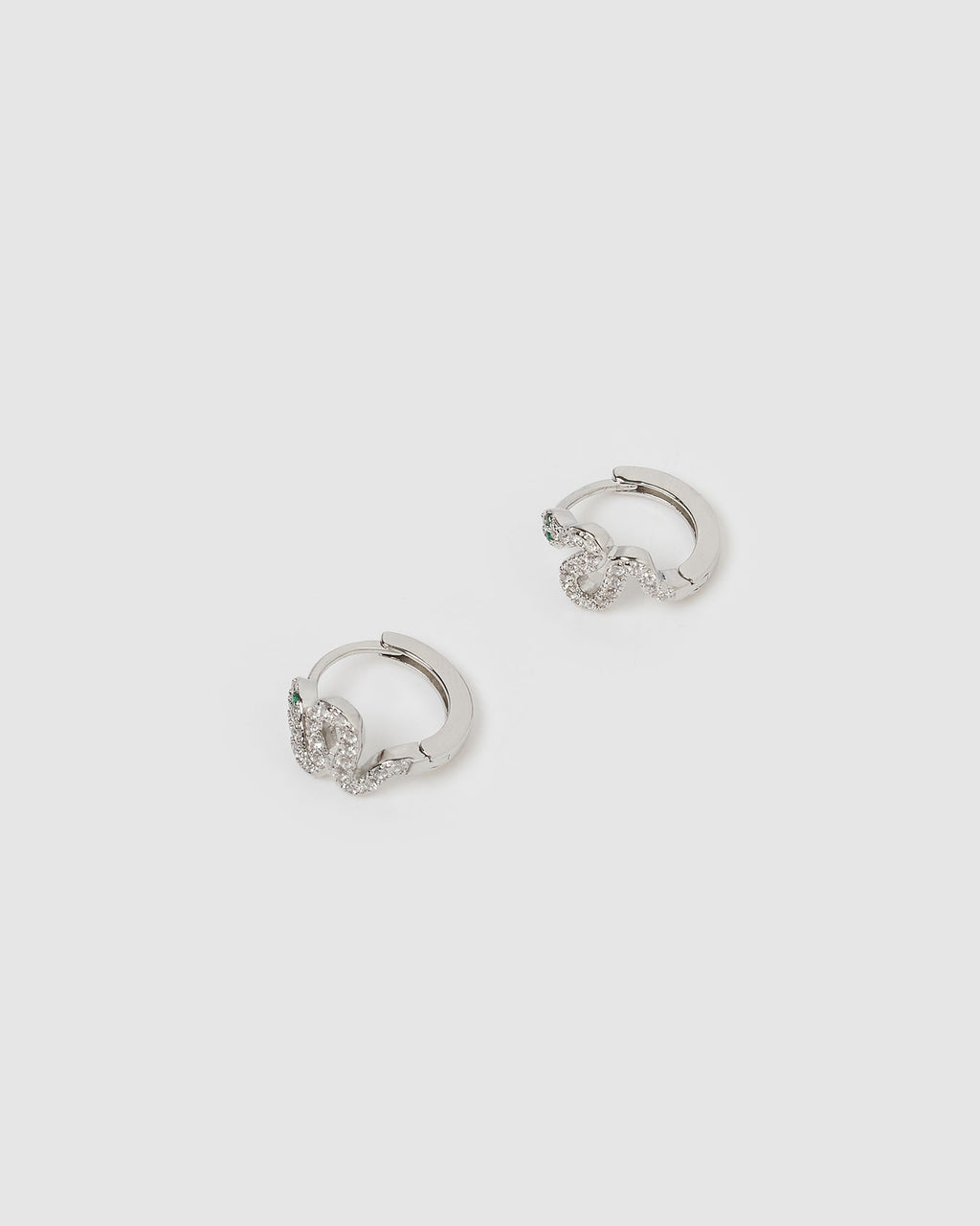 Cobra Huggie Earrings Silver