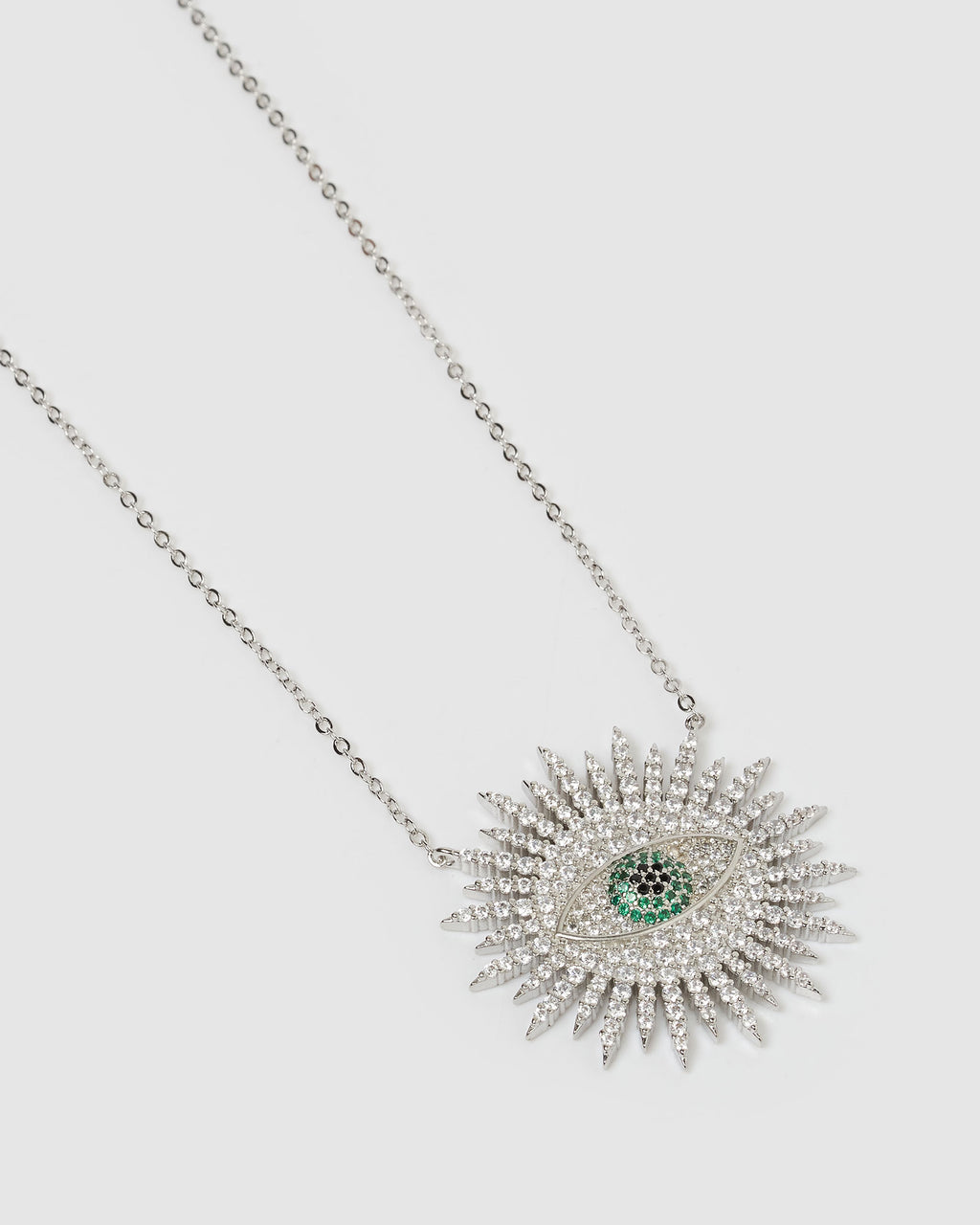 Izoa Maggie Embellished Evil Eye Necklace Silver
