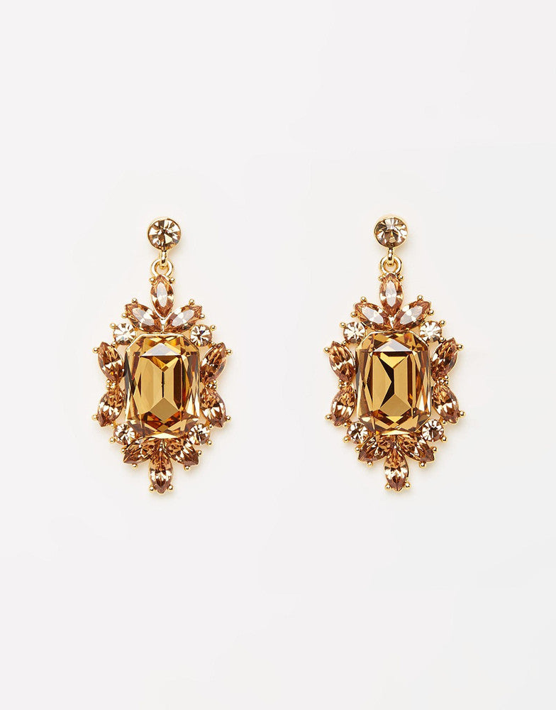Izoa Gold Baroque Statement Earrings