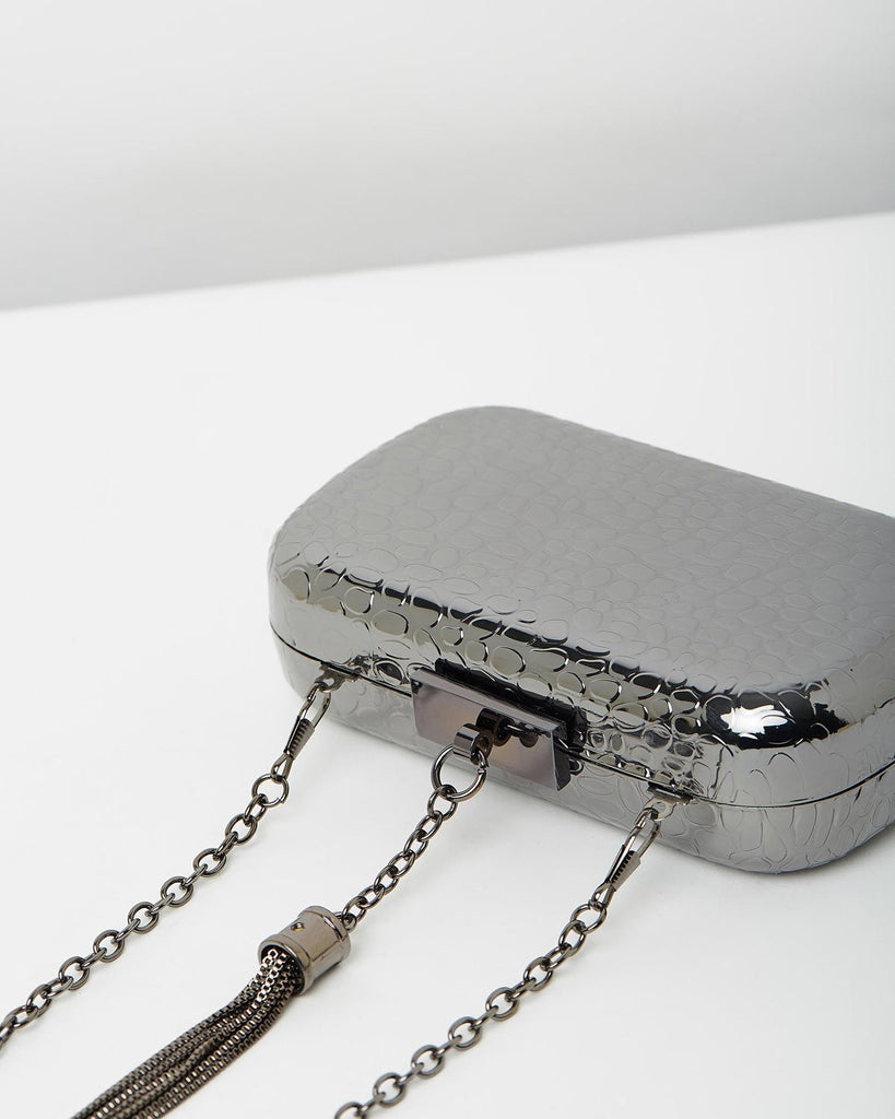 Izoa Beatrice Clutch Gunmetal
