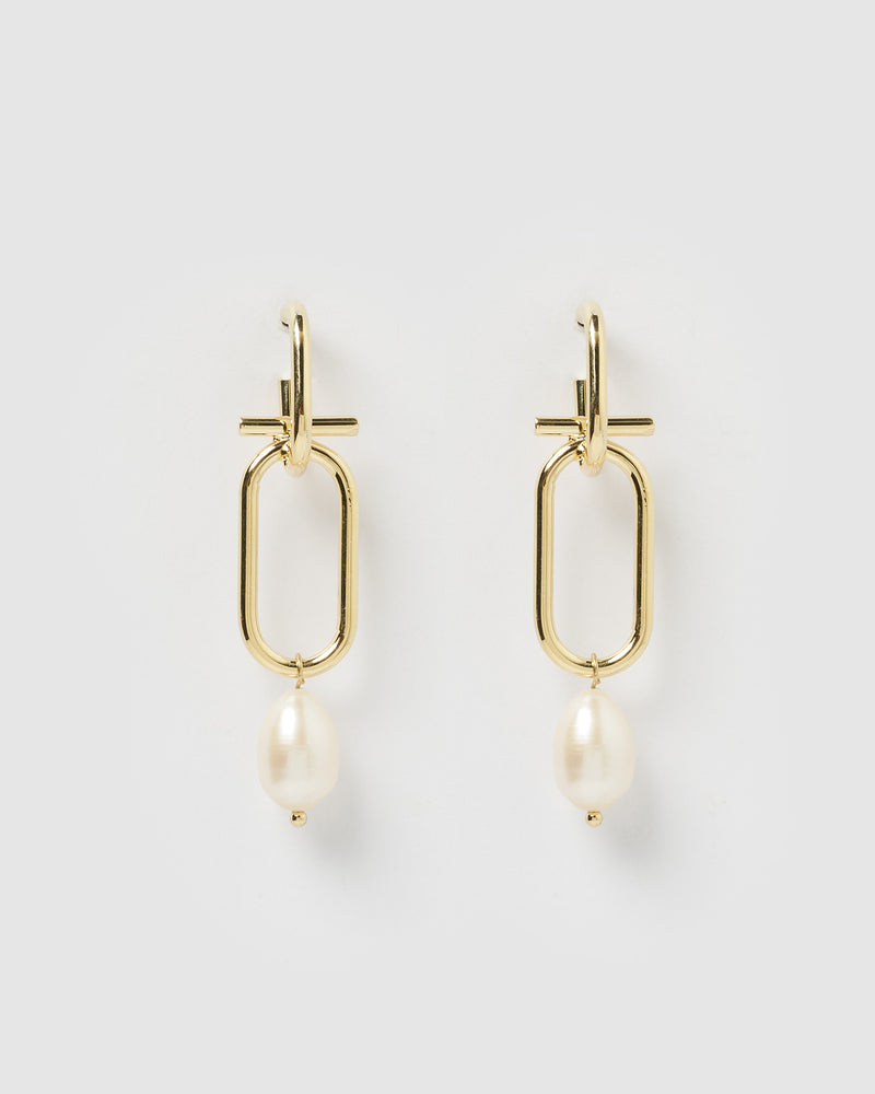 Izoa Bella Earrings Gold Freshwater Pearl