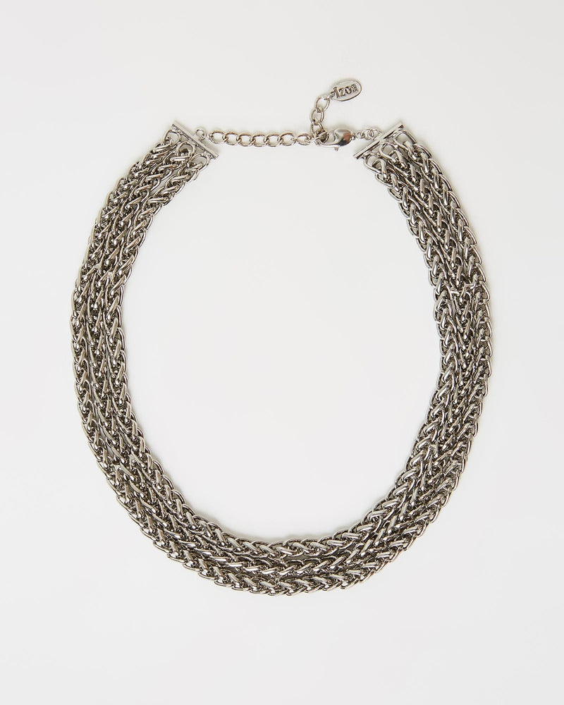 Izoa Zappa Chain Collar Necklace Silver