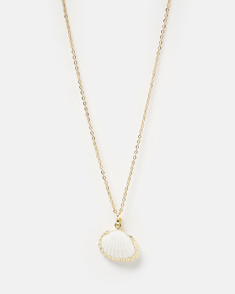 Miz Casa & Co Bora Bora Shell Necklace Gold White