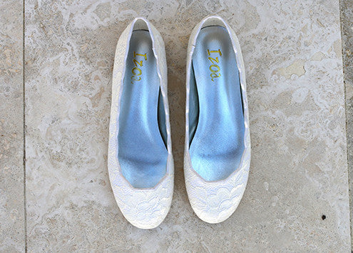 Izoa Bridal Flats Ivory Lace (SIZES 37 & 38 ONLY)