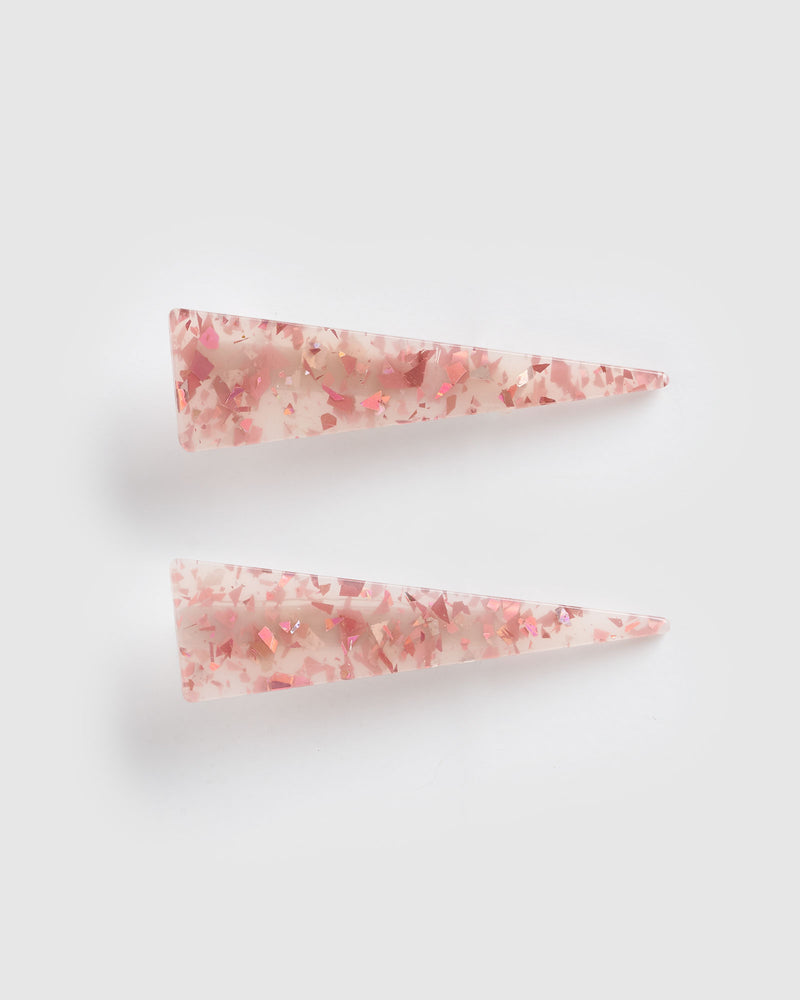 Izoa Brooke Hair Clip Set Pink Speckle