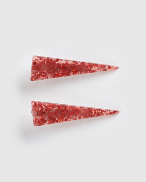 Izoa Brooke Hair Clip Set Red Speckle