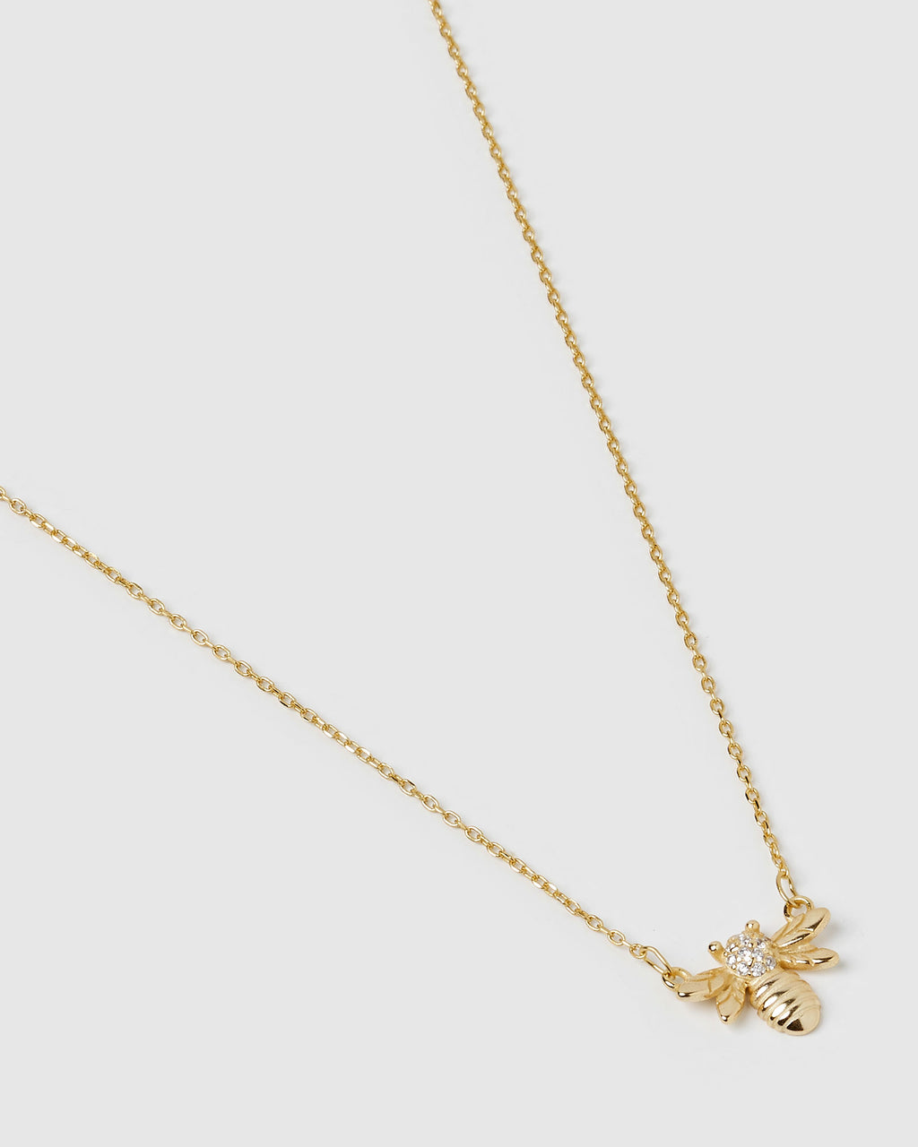 Izoa Bumble Bee Necklace Gold Crystal