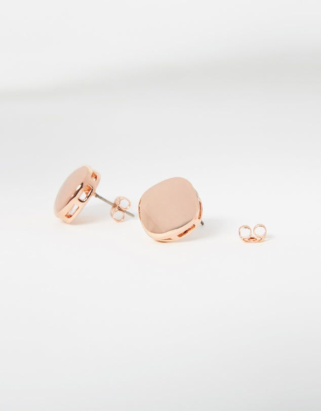 Izoa Button Stud Earrings Rose Gold