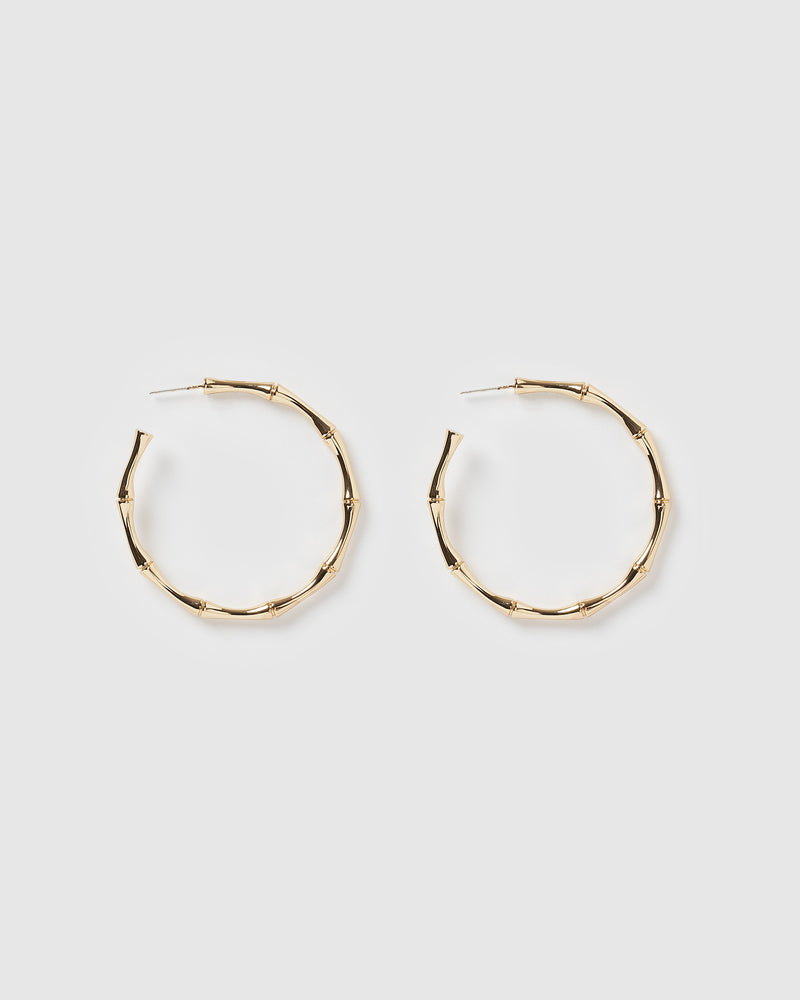 Izoa Bamboo Hoop Earrings Gold