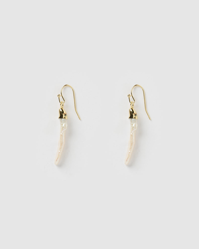 Miz Casa & Co Banu Drop Earrings Gold Freshwater Pearl