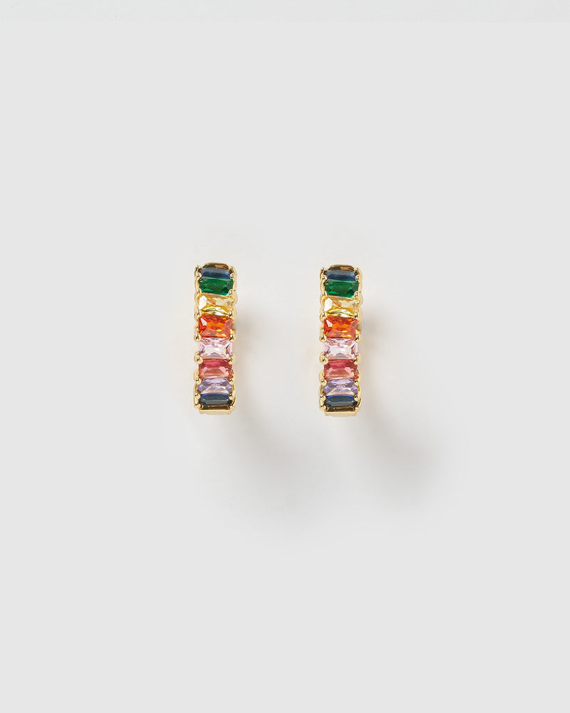 Izoa Bec Huggie Earrings Gold Multi