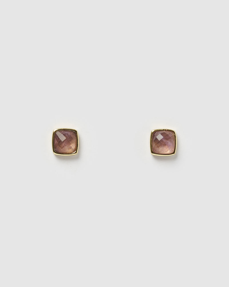 Miz Casa & Co Billows Stud Earrings Rose Amethyst