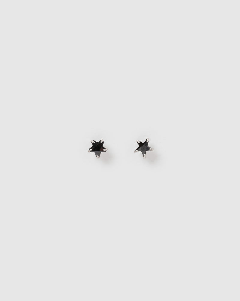 Izoa Kids Star Stud Earrings Black Sterling Silver
