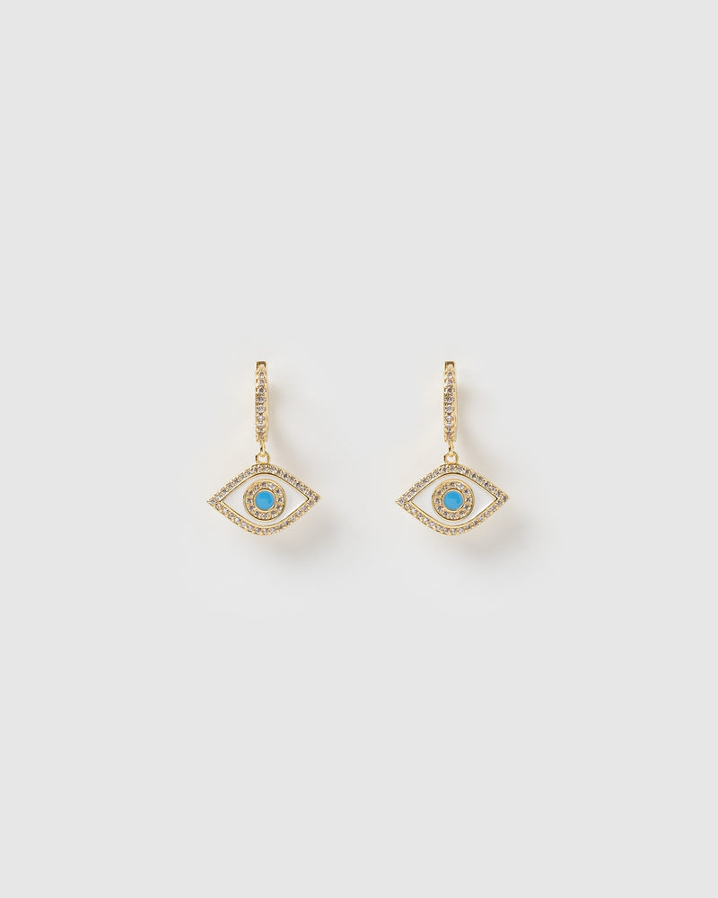 Izoa Evil Eye Huggie Earrings Gold Blue