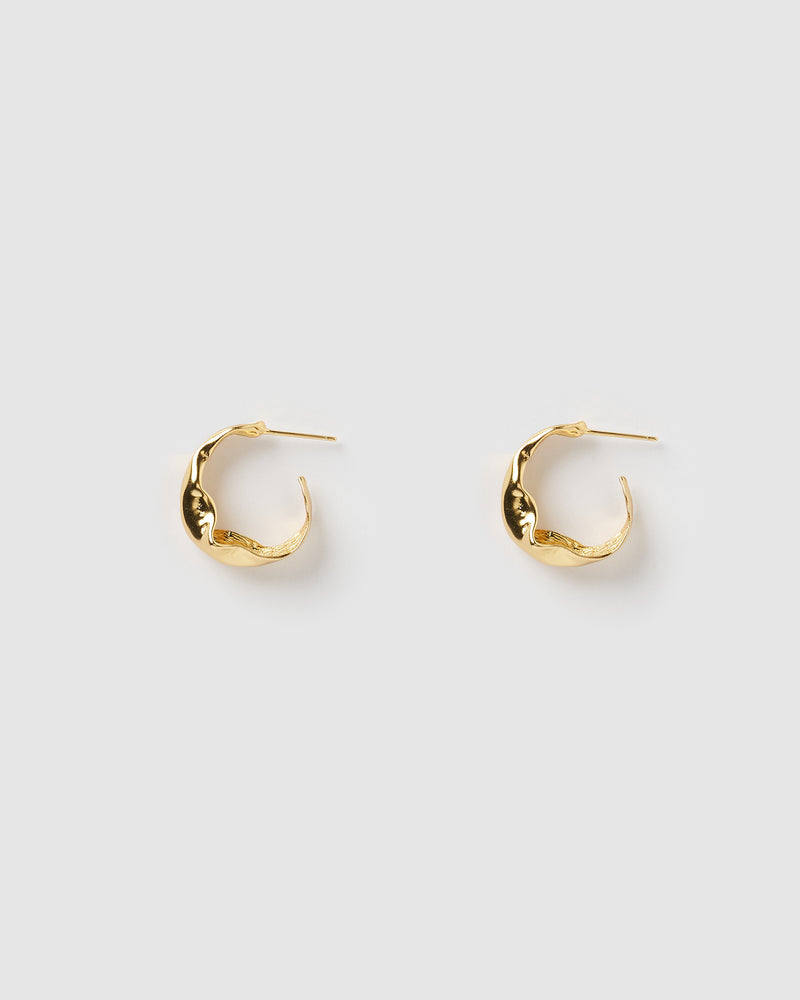 Izoa Bree Textured Hoop Earrings Gold