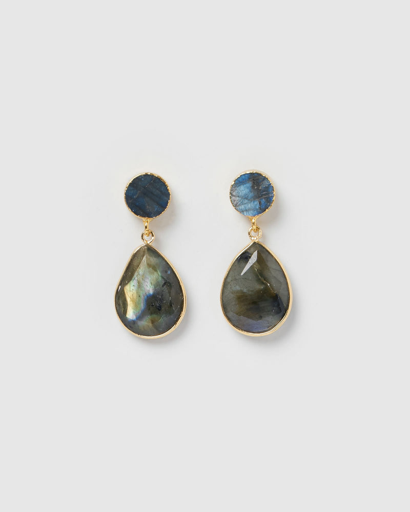 Miz Casa & Co Capricorn Earrings Stone Gold