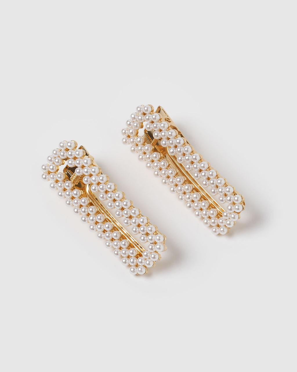 Izoa Carrie Hair Clip Set Gold Pearl