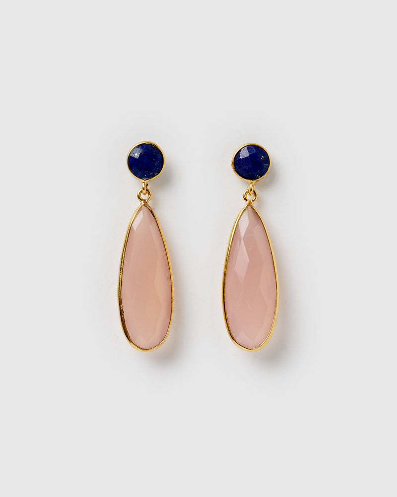 Izoa Celeste Earrings Blue Lapis Rose Quartz