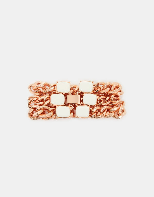 Izoa Chain Mail Bracelet Rose Gold White