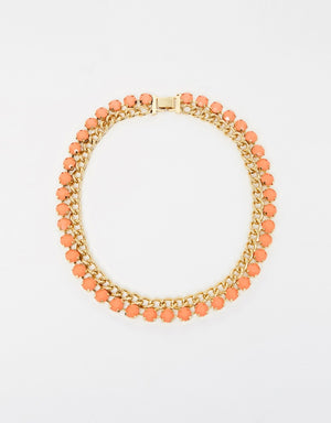 Izoa Chain Mail Necklace Gold Coral