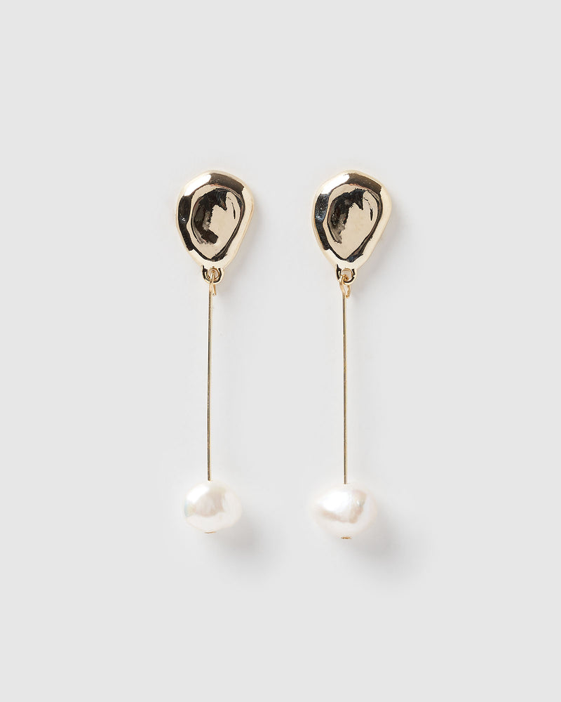 Izoa Cherish Earrings Gold Freshwater Pearl