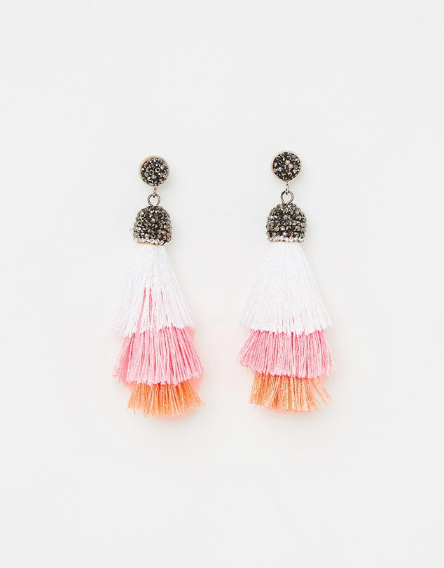 Izoa Chi Chi Earrings Pink White Orange