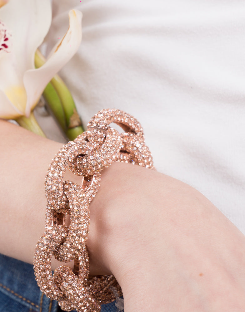 Izoa Chunky Link Bracelet Rose Gold and Peach