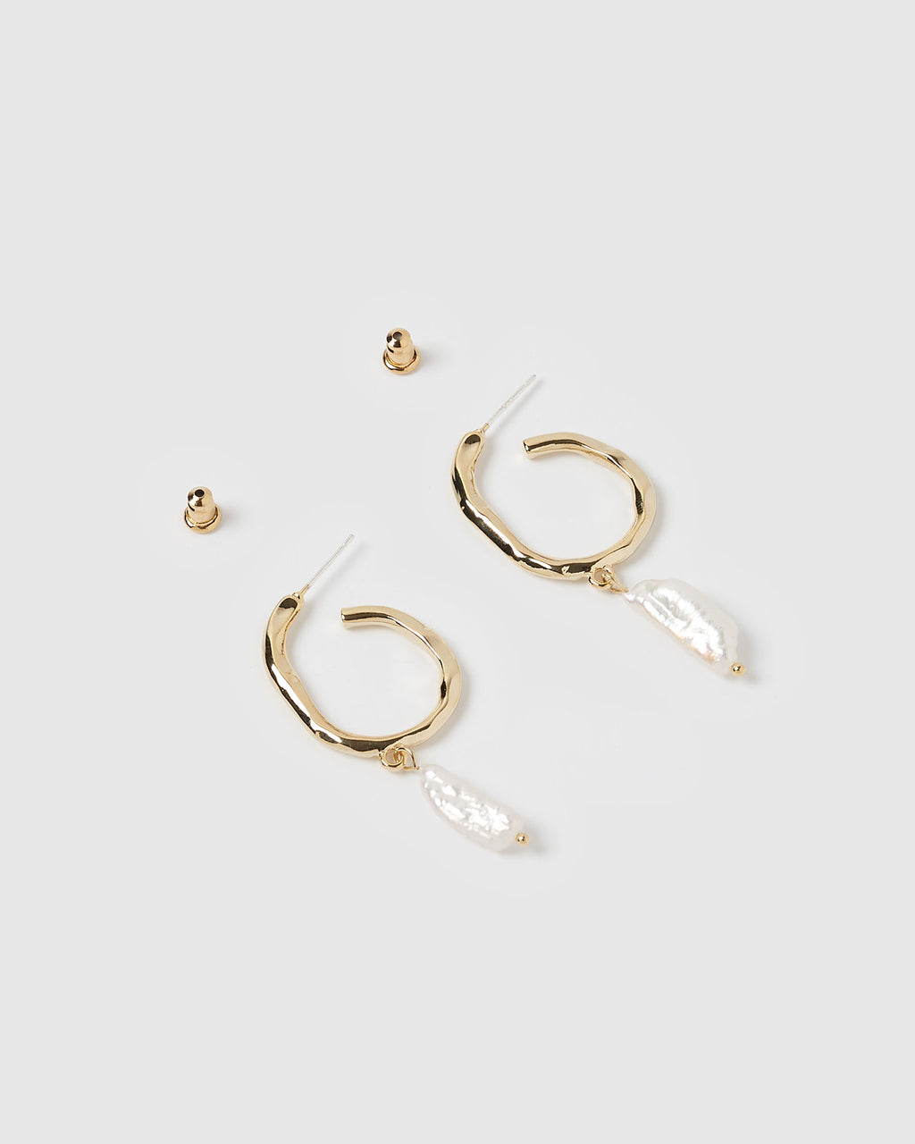 Izoa Claude Hoop Earrings Gold Freshwater Pearl