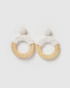 Izoa Clover Earrings Natural White