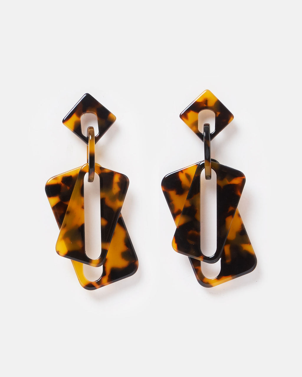 Izoa Compass Earrings Tortoise Shell