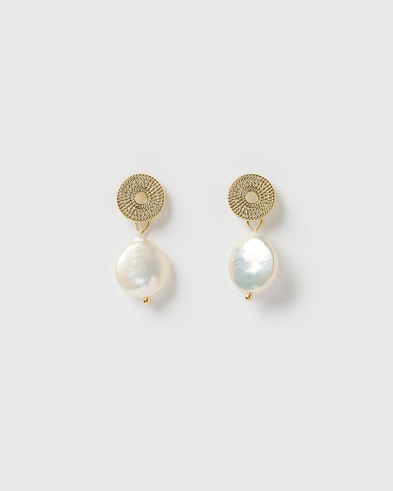 Izoa Cosmic Earrings Gold Freshwater Pearl