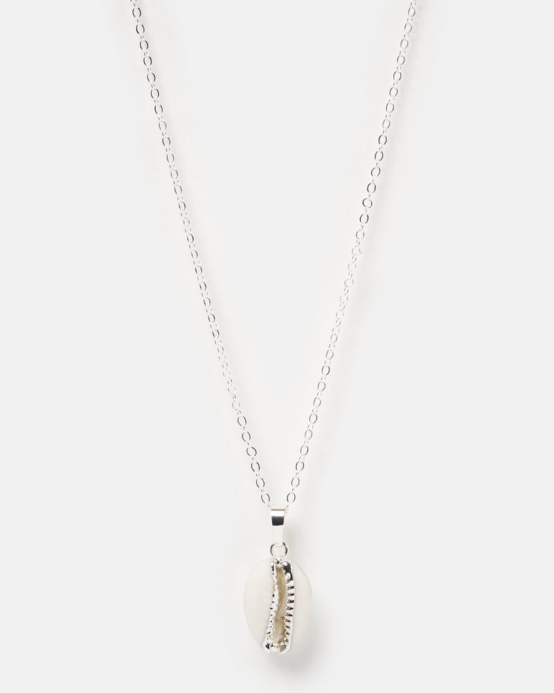 Miz Casa & Co Cowrie Shell Necklace Silver White