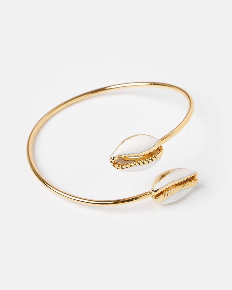 Miz Casa & Co Cowrie Solid Bracelet Gold White