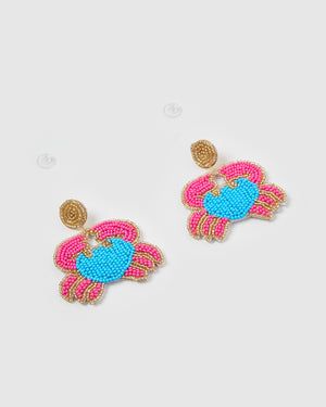 Izoa Crabby Earrings Blue Pink