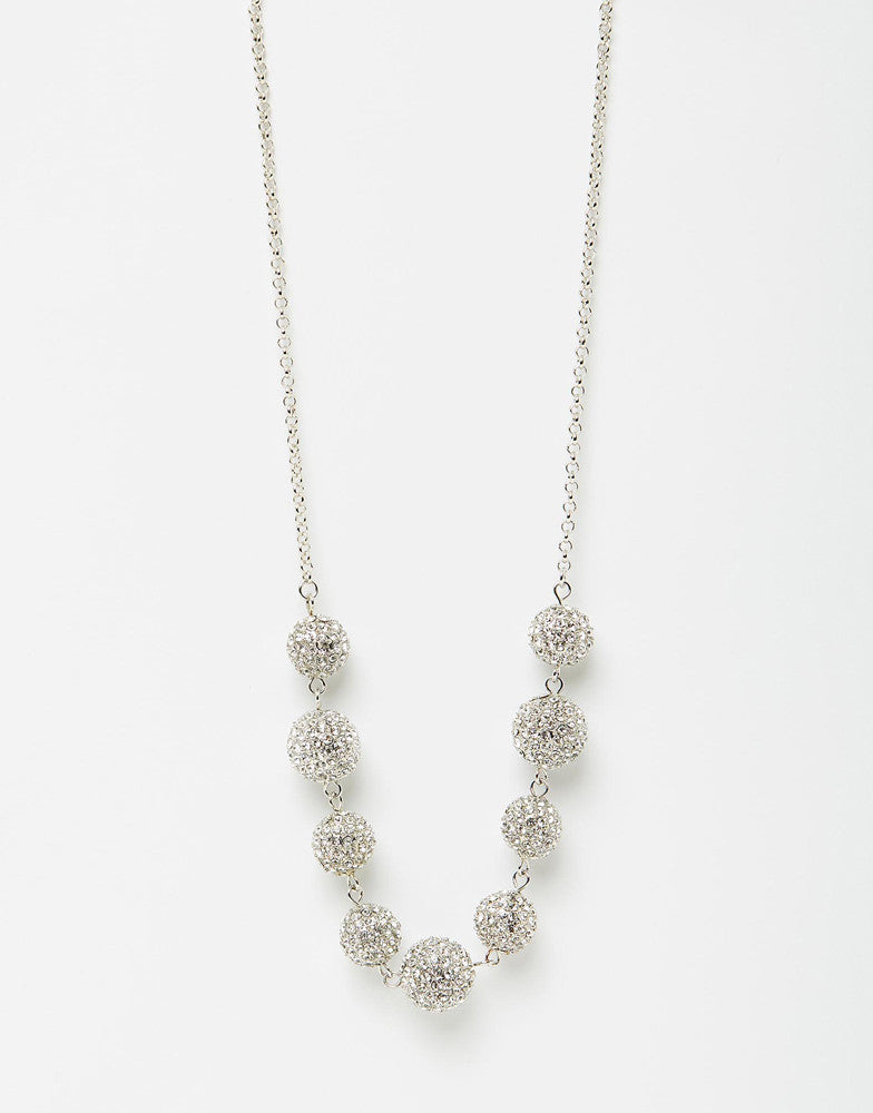 Izoa Crystal Ball Necklace Silver